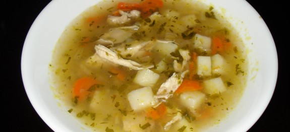 Potato and chicken soup