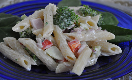 pasta with yugurt salad