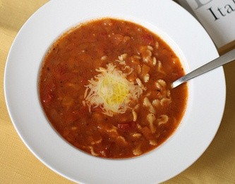 spaghetti with meat soup
